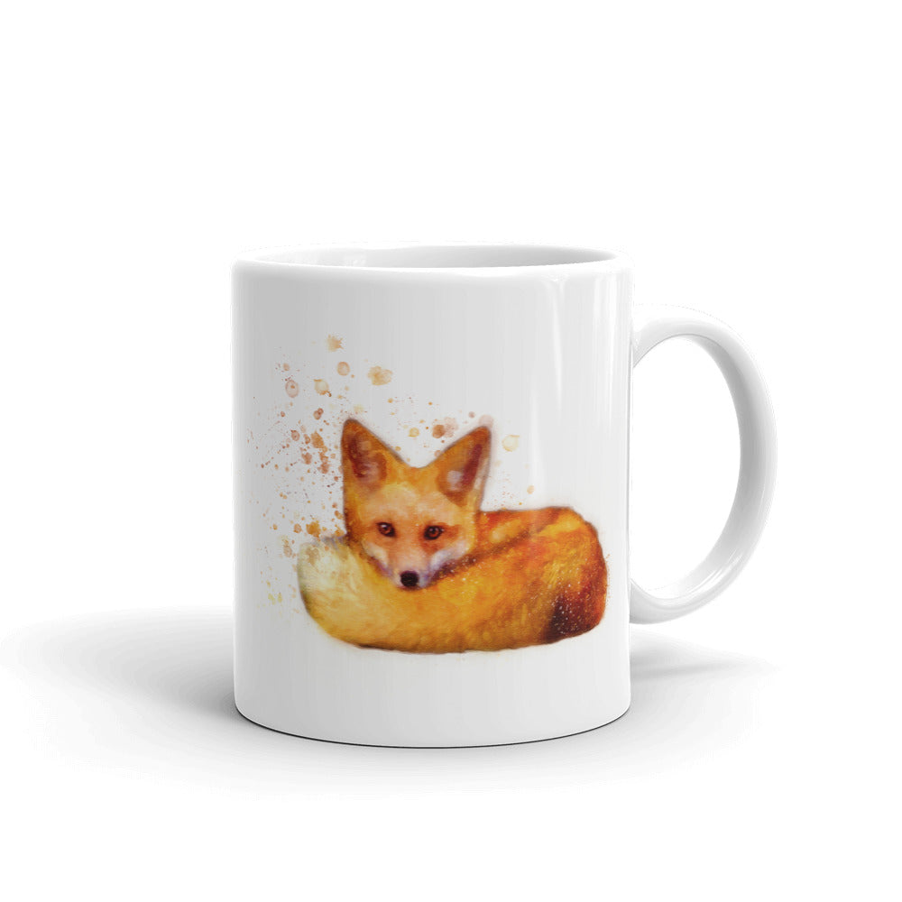 Sleeping Fox Watercolor Painting Coffee Mug
