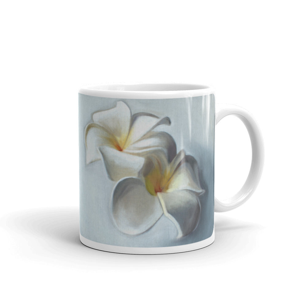 Plumeria Blossoms Painting Coffee Mug