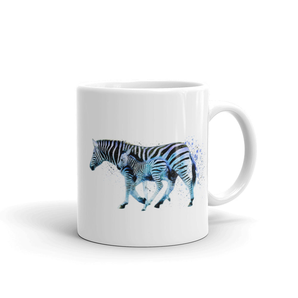 Running Zebras Watercolor Painting Coffee Mug