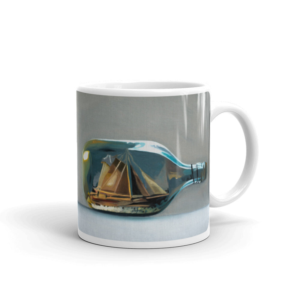 Ship in a Bottle Painting Coffee Mug