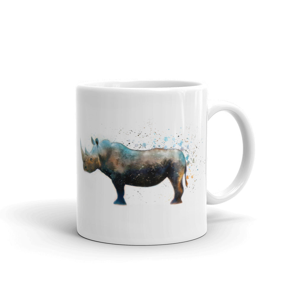 Rhinoceros Watercolor Painting Coffee Mug