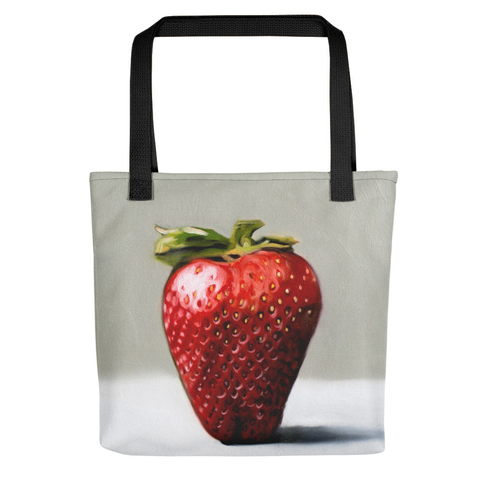 Single Strawberry Painting Tote Bag