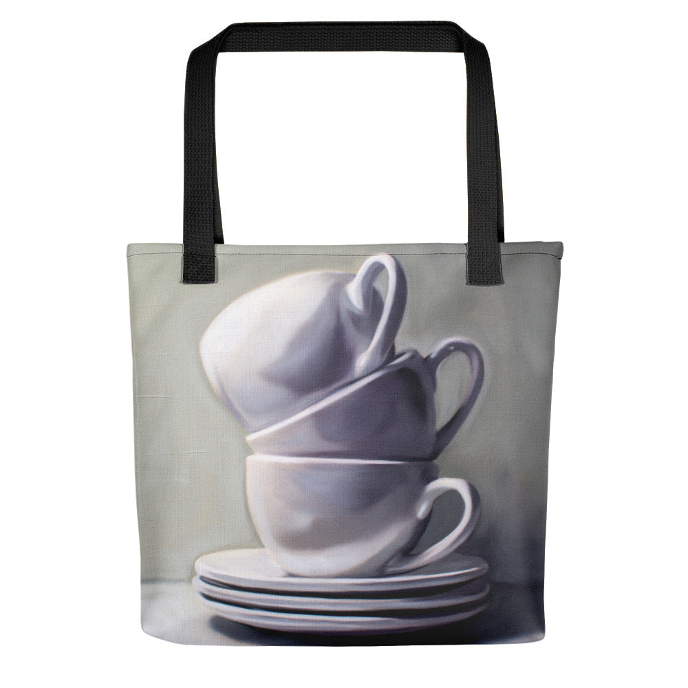 Stacked Cups and Saucers Painting Tote Bag