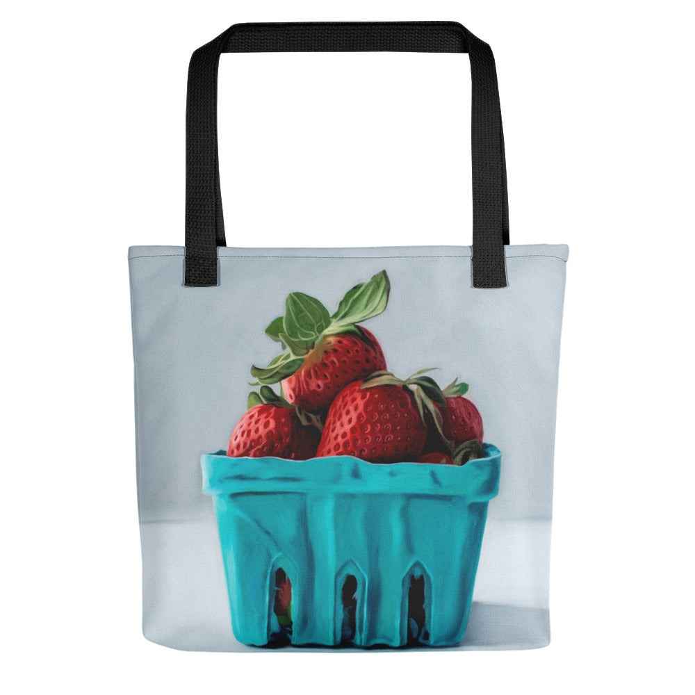 Strawberry Basket Painting Tote Bag