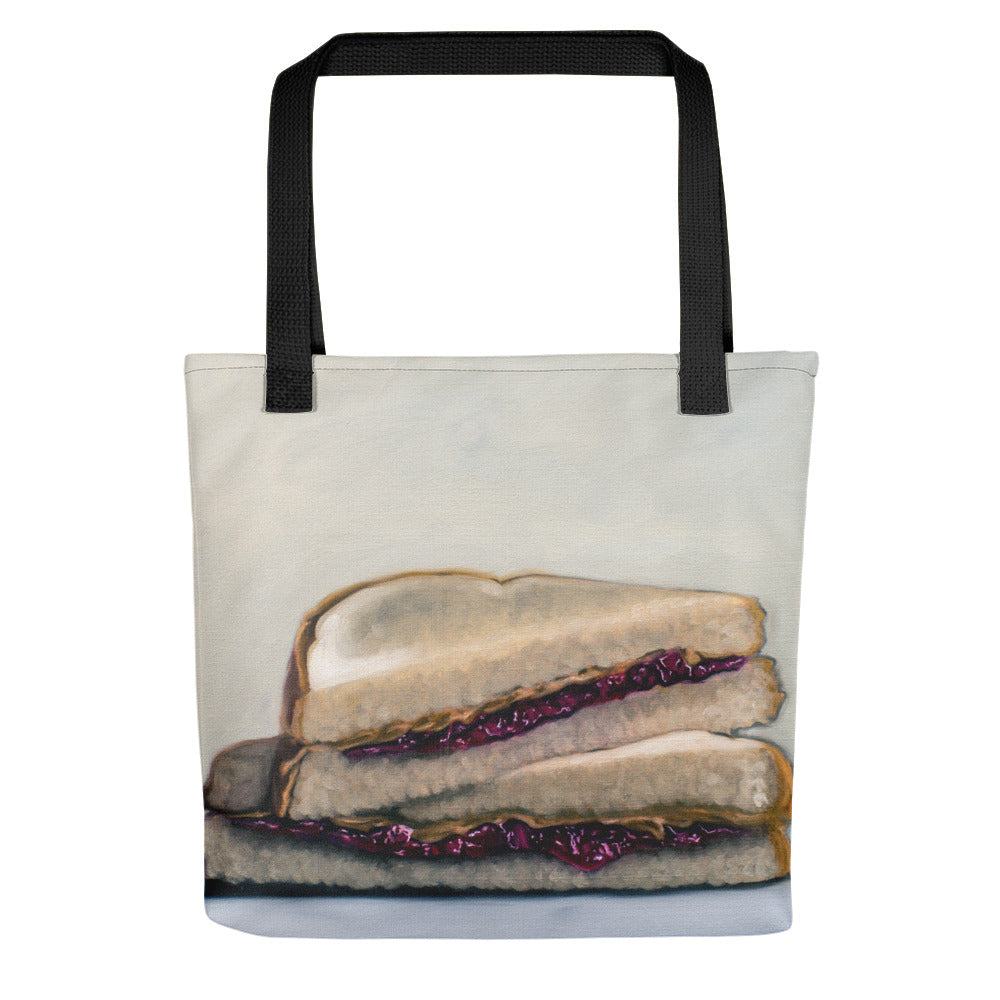 Peanut Butter and Jelly Sandwich Painting Tote Bag