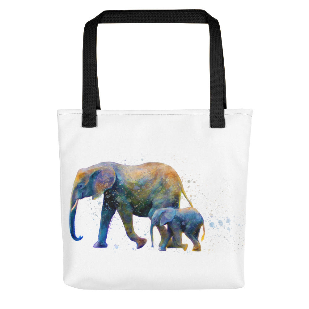 Mother and Baby Elephant Watercolor Painting Tote Bag