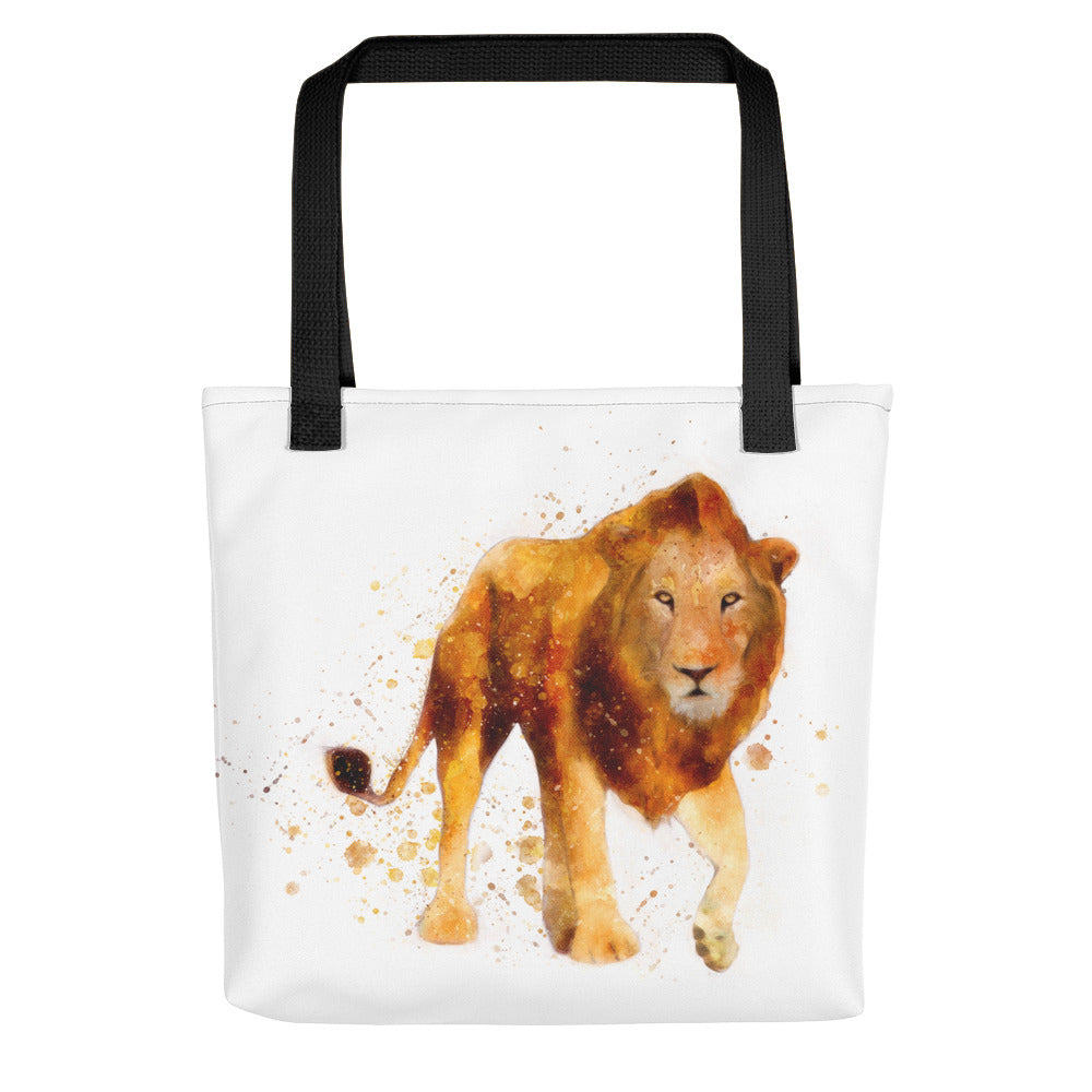 Male Lion Watercolor Painting Tote Bag