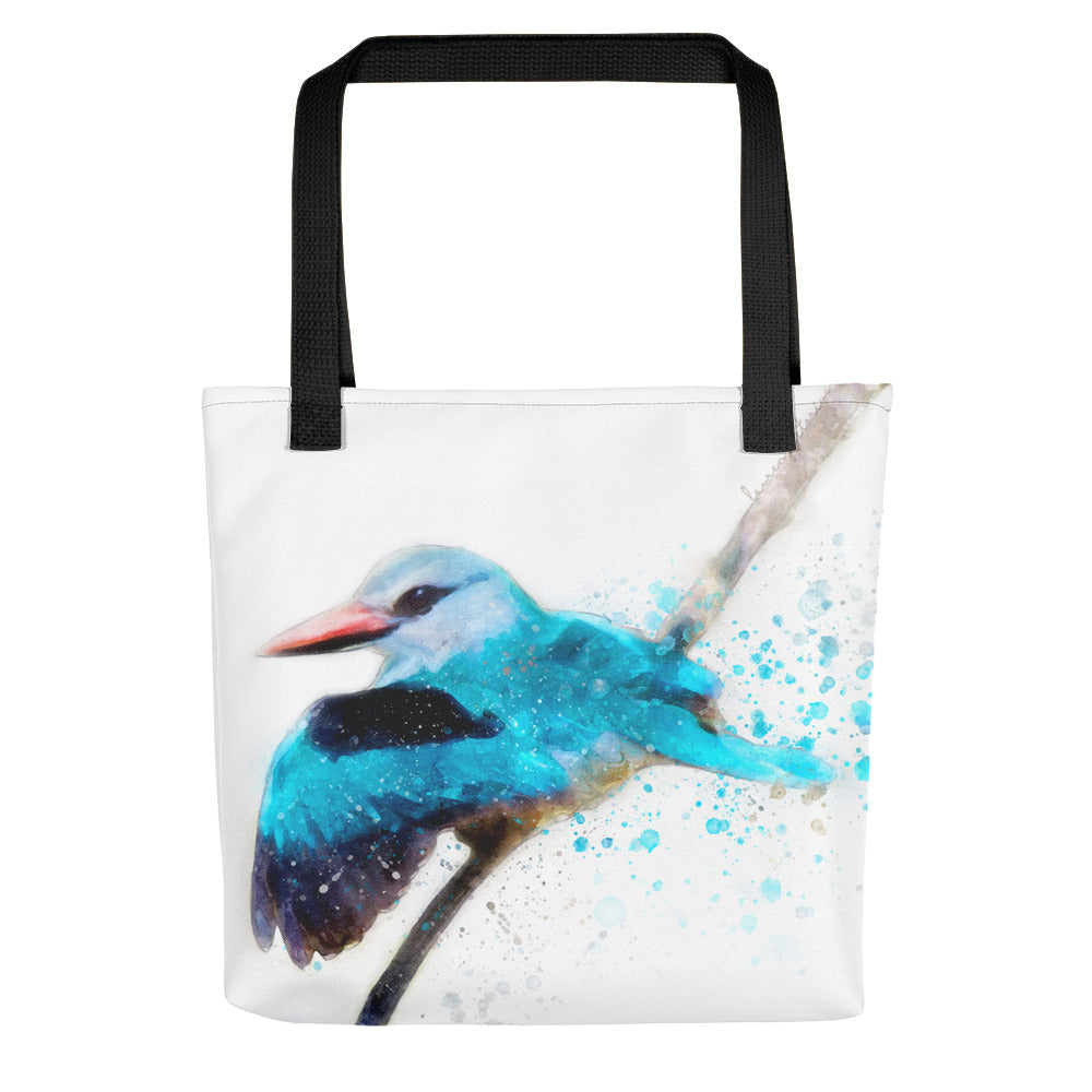 Woodland Kingfisher Watercolor Painting Tote Bag