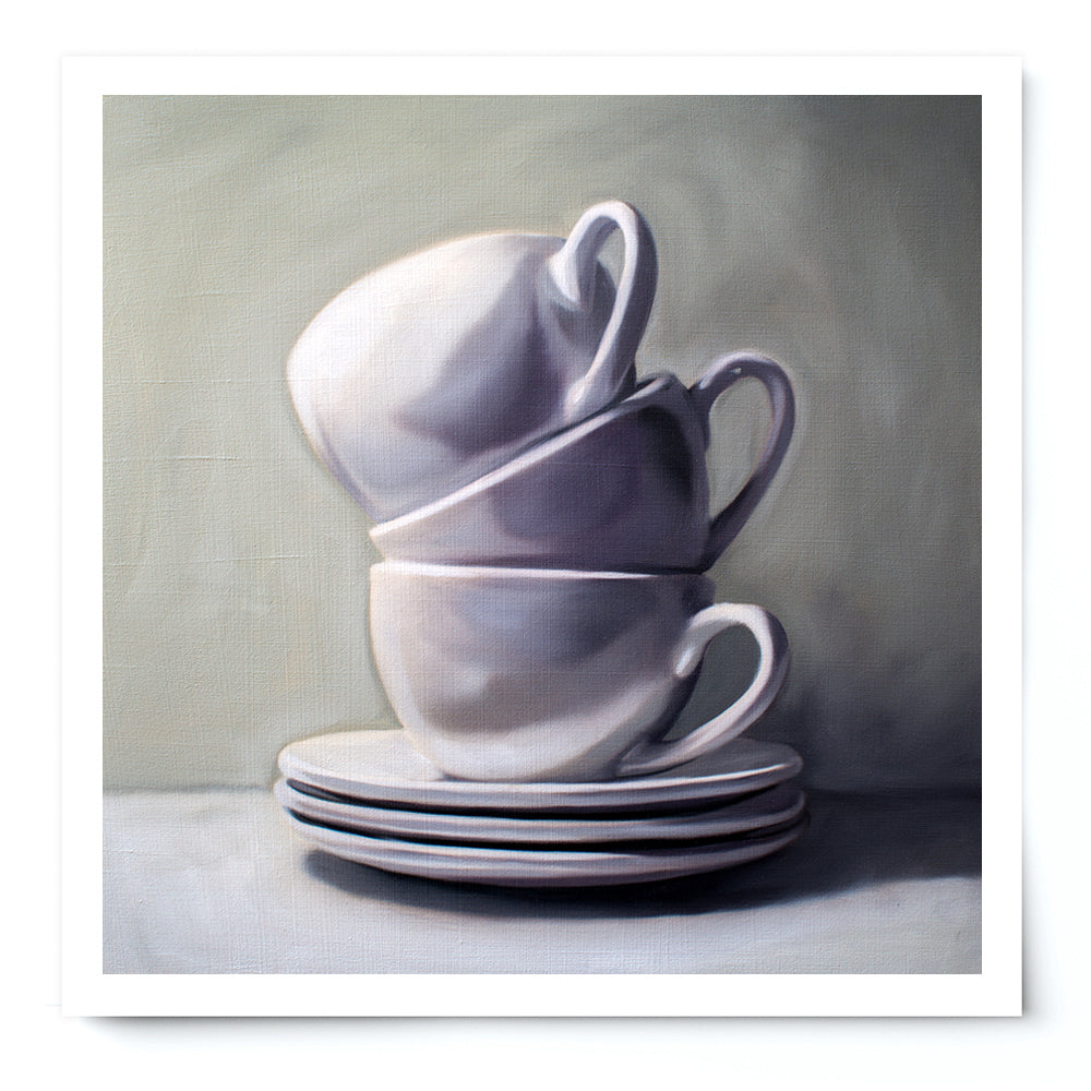 Stacked Cups and Saucers Fine Art Print