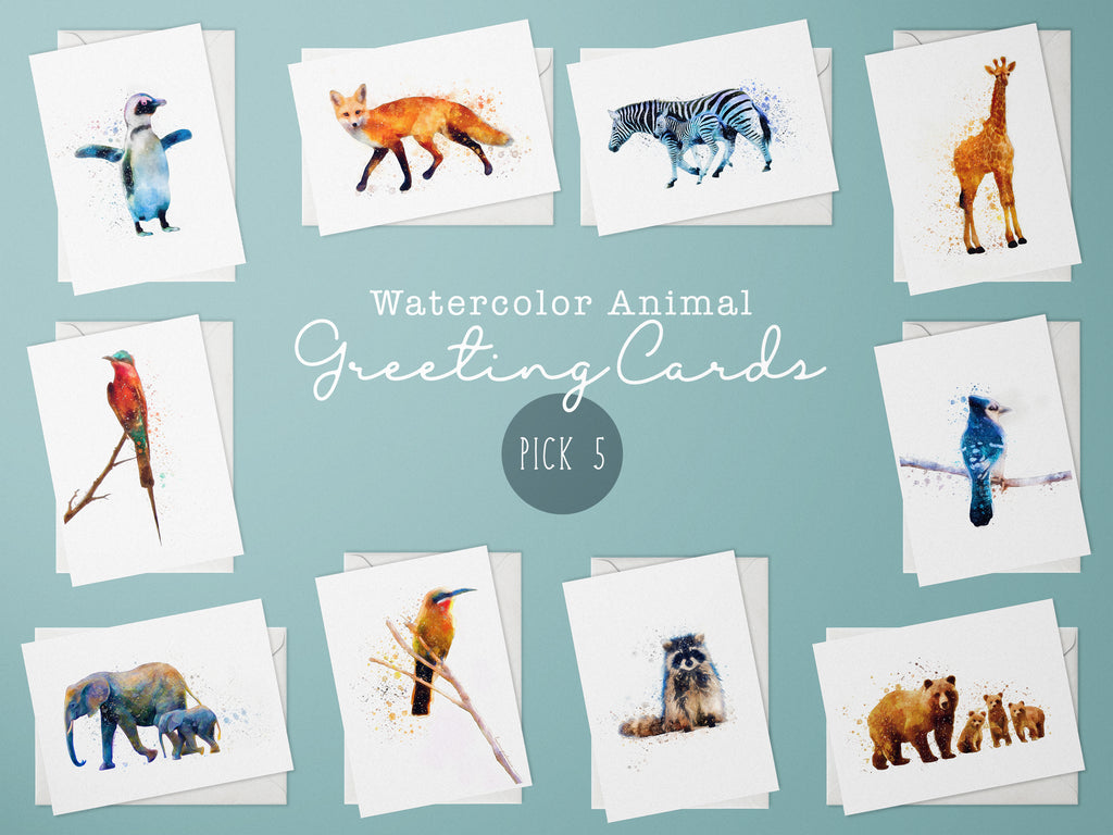 Animal Watercolor Greeting Cards, Choice of 5 Cards - Whimsical Wild Artwork