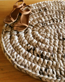 AUSTRALIAN MERINO WOOL CROCHETED OVAL SHAPED RUG