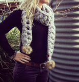 AUSTRALIAN MERINO CROCHETED SCARF WITH POM POMS