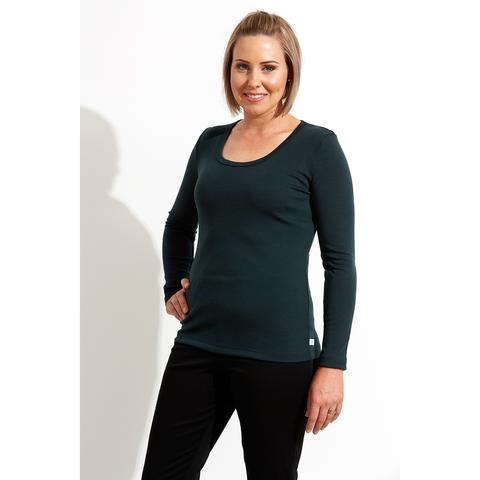 WOOLERINA AUSTRALIAN MERINO WOOL LONG SLEEVE SCOOP NECK WOMEN'S TOP