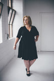 Melbourne Knee length Little Black Wrap Dress