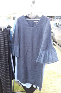 Australian made navy knee length linen dress