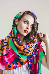 LETITIA GREEN DREAMTIME SILK SCARF