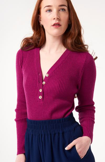 McIntyre 'Norma' Henley style half button ribbed Merino Long Sleeve