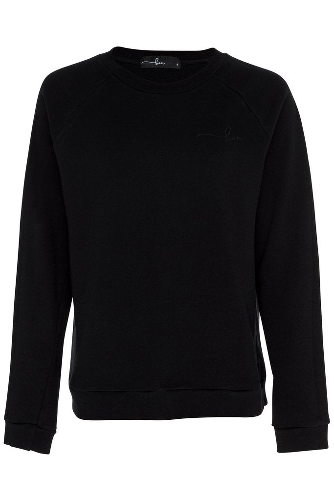 BON LABEL RAGLAN SLEEVE BLACK SWEATER