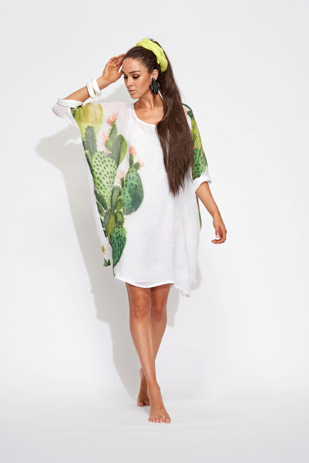 Cactus Long Sleeve Bat Wing Dress