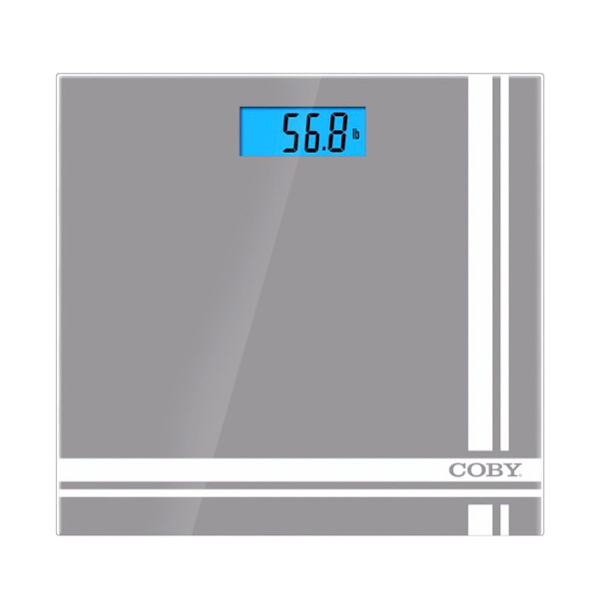 COBY Glass Digital Scale with Blue LCD Display