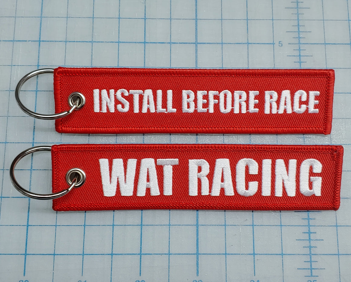 'INSTALL BEFORE RACE' Flight Tag Key Chain