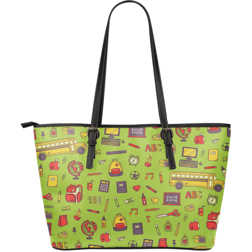 Back 2 School Green Large Leather Tote Bag - JaZazzy