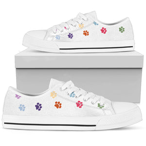 Paw Prints Low Top Shoes White - JaZazzy