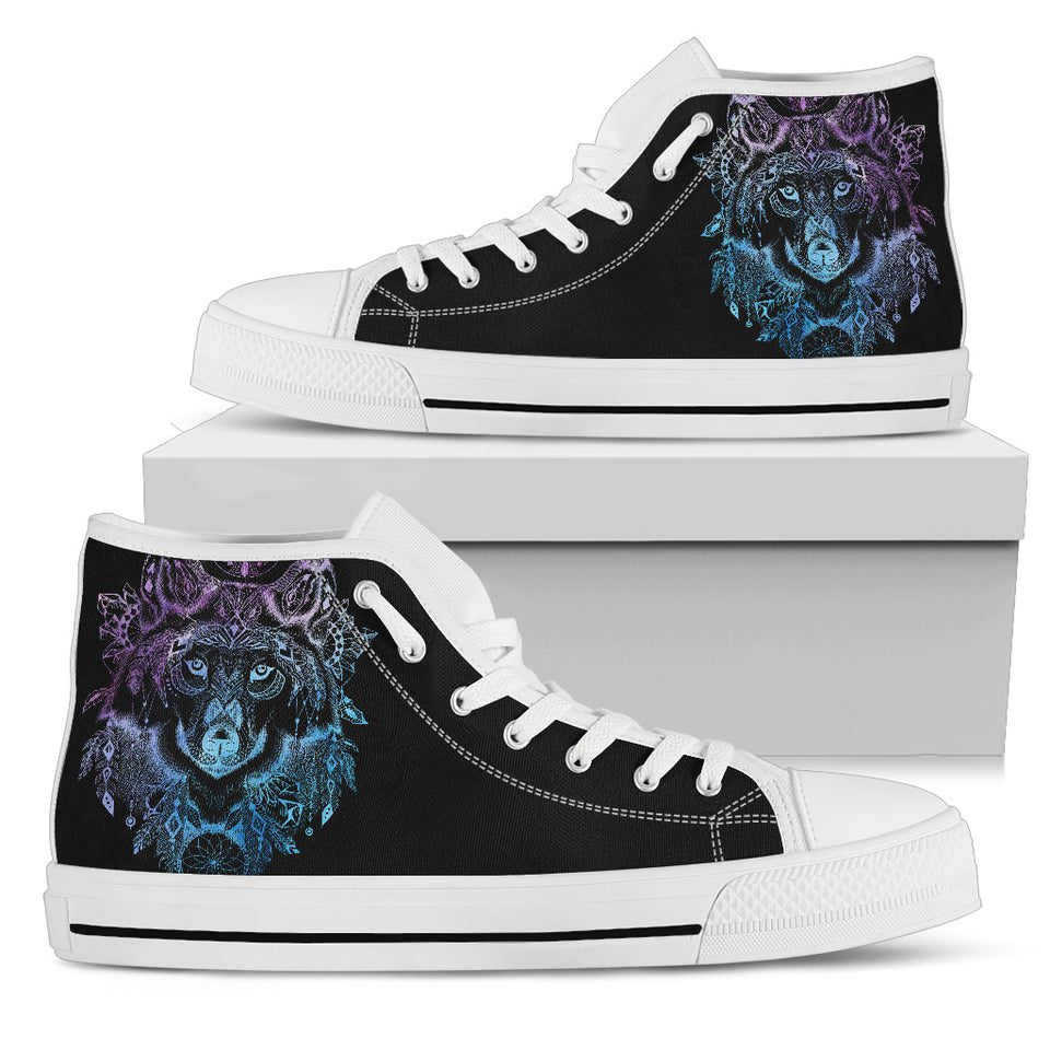 Womens Wolf Head Mandala High Top. - JaZazzy