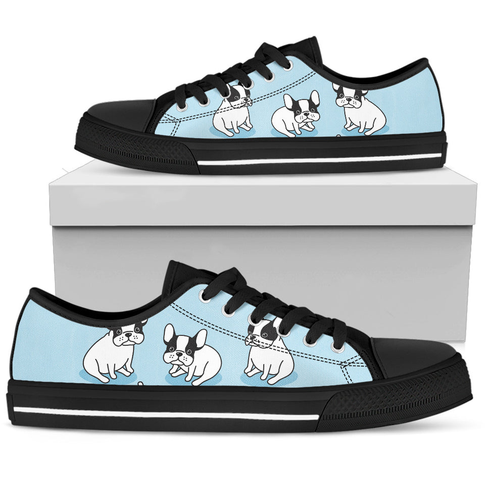 Baby Bulldog Women's Low Top Shoe-lt blue/black - JaZazzy