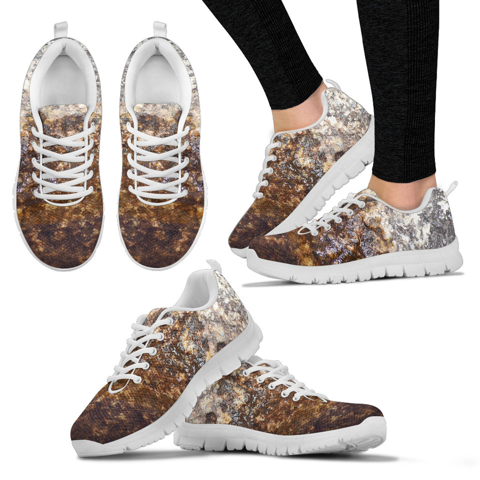 Women's Sneaker White - Wet Rock Design - JaZazzy