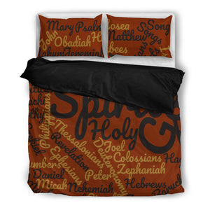 Cool Brown Holy Bible Books Black Bedding Set - JaZazzy