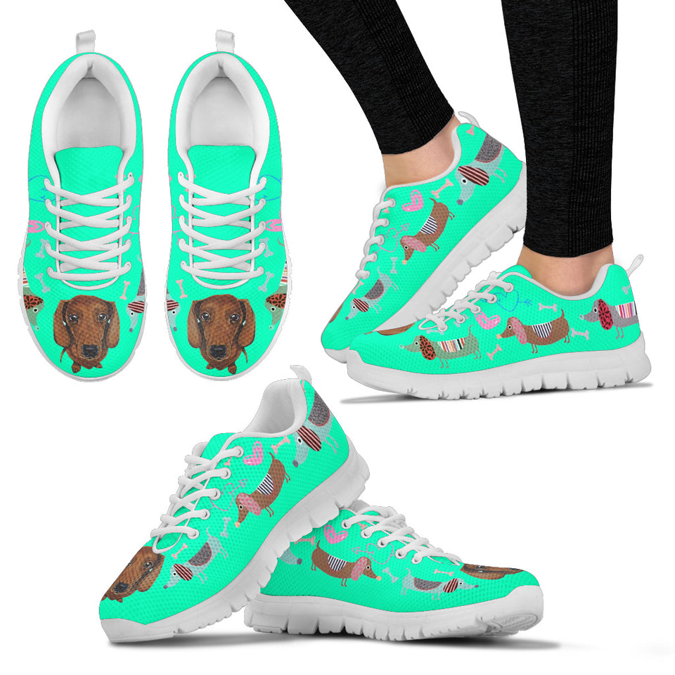 Light green sneakers with duchshund with cute eyes - JaZazzy