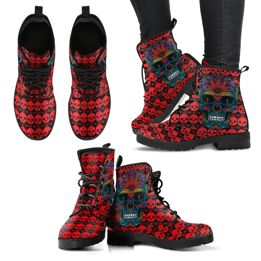 Sugar Skull 5 Handcrafted Boots - JaZazzy