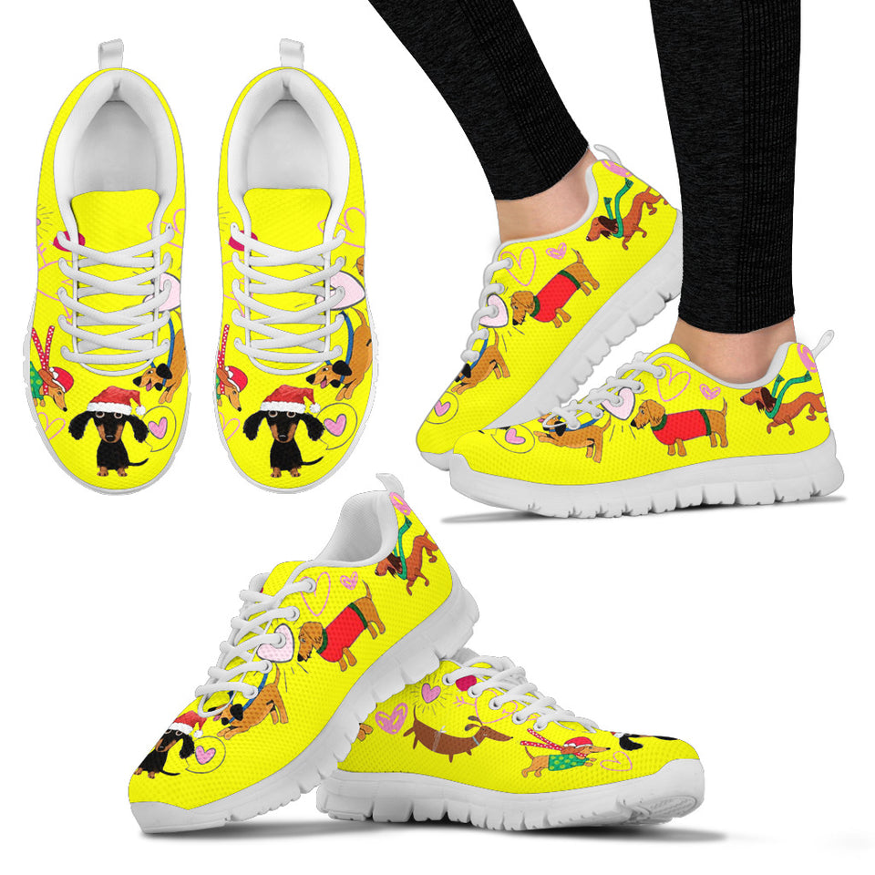 Yellow sneakers with dachsund - JaZazzy