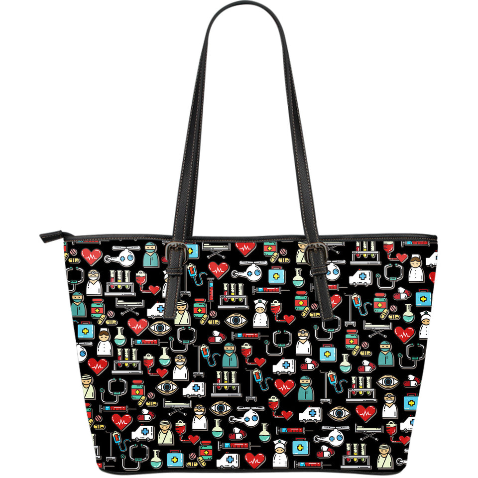 I love Nursing Black Leather Tote Bag - JaZazzy