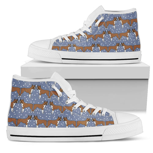 Boxer Dog Pattern Shoes Women's High Top - JaZazzy