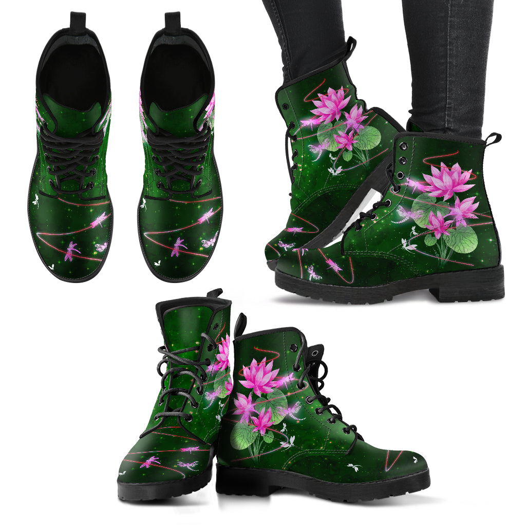 Dragonfly With Lotus Flower Handcrafted Boots V8 - JaZazzy