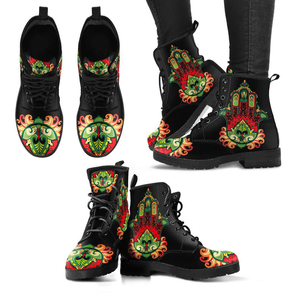 Handcrafted Hand of Hamsa Green Boots - JaZazzy