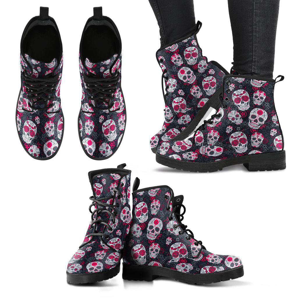 Red Gray Sugar Skull Handcrafted Boots - JaZazzy