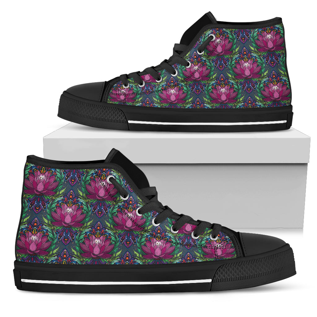 Womens Purple Spiritual Lotus High Top - JaZazzy