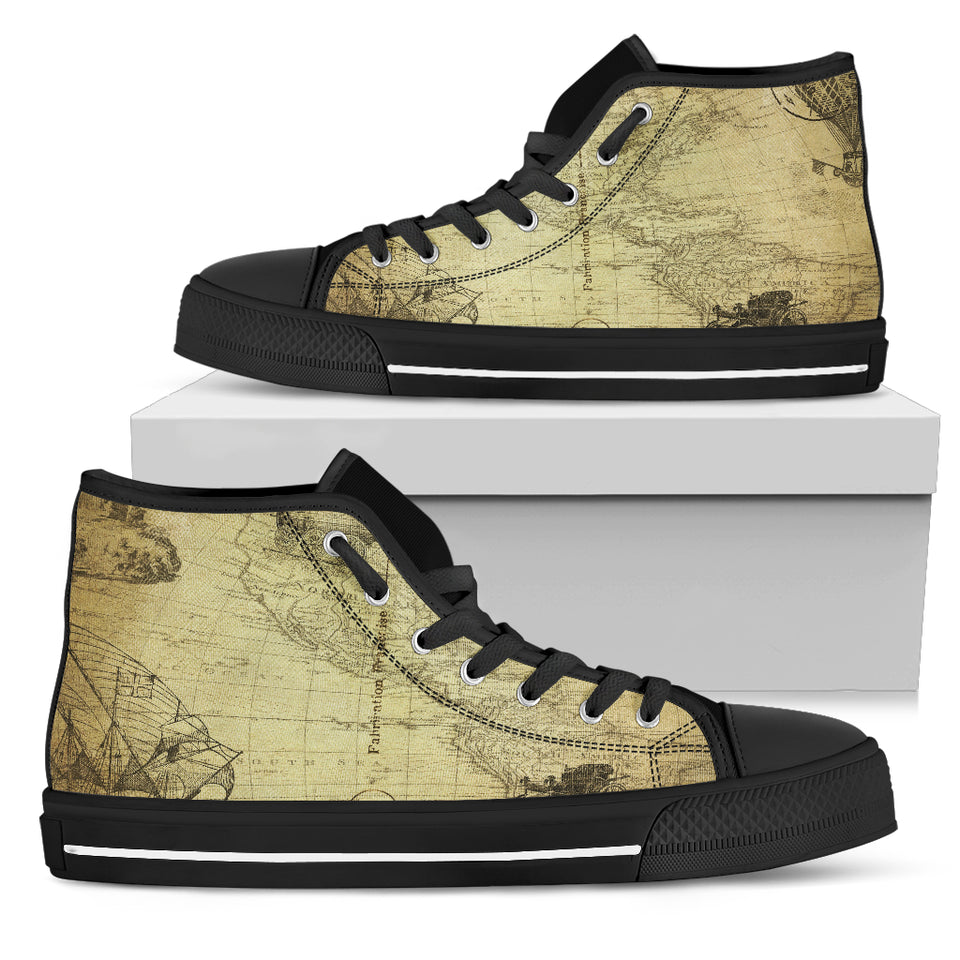 Vintage Map Men's High Tops - JaZazzy