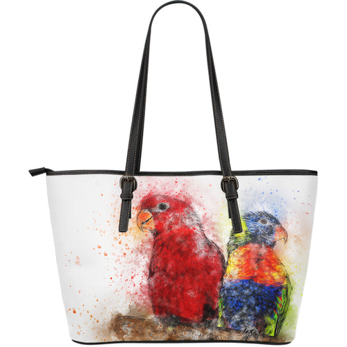 Leather Tote Bag - Large Parrots - JaZazzy