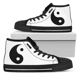 Yin Yang Womens High Top White - JaZazzy