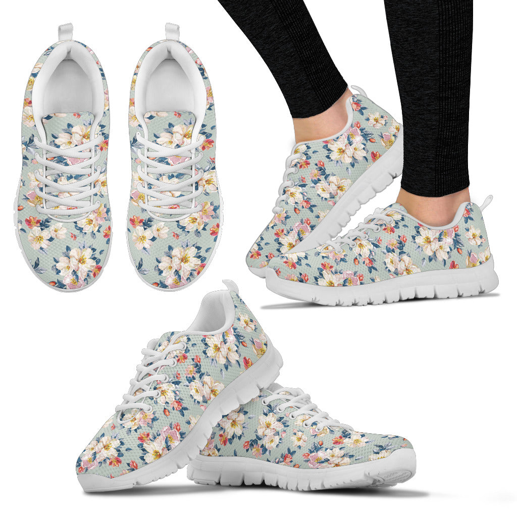 Boho White Flowers Sneakers. - JaZazzy