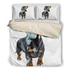 White bedding set with drawn Duchshund - JaZazzy