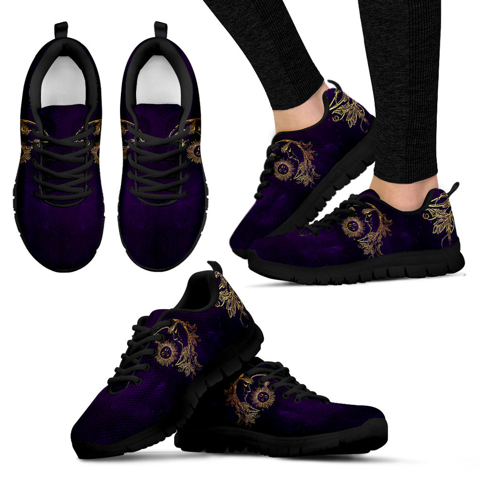 Womens Sun and Moon Dark Purple Sneakers - JaZazzy