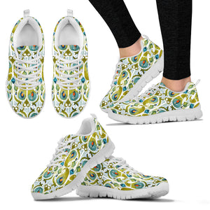 Boho Watercolor Peacock Feather Sneakers. - JaZazzy