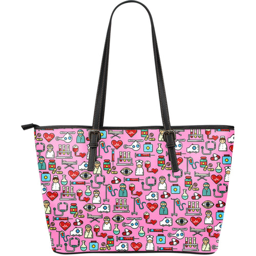 I love Nursing Pink Leather Tote Bag - JaZazzy