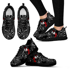 Black Roses and Calavera Girl Hand Crafted Sneakers-black soles - JaZazzy