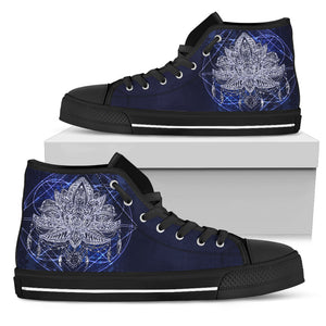Womens Blue Lotus Fractal High Top - JaZazzy